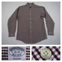 Brooks Brothers Mens Size 16 Regent Burgundy Check Button Front L/S Dress Shirt