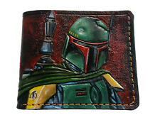 Men's 3D Genuine Leather Wallet, Hand-Carved, Tooled, Boba Fett's, Star Wars