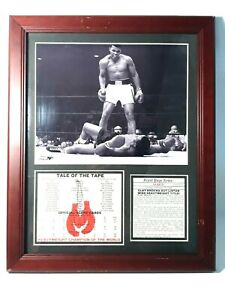 Muhammad Ali Sonny Liston Knockout Tale of the Tape Framed Picture w/ Stat Card