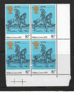 1976 GB.500th Anniversary of British Printing - Corner Block - MNH.