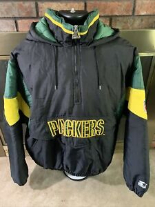 Vintage Green Bay Packers Hooded 90s Starter Puffy NFL Football Jacket Mens XL