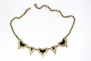 Black Enamel Necklace with Gold Detail