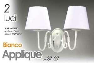 APPLIQUE DA PARETE 2 LUCI 27*37 METALLO LAMPADARIO BIANCO SHABBY CHIC NAP 674693