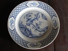 """ANTIQUE DUDSON, WILCOX & TILL-HANLEY-ENGLAND """"VANITY"""" PATTERN BLUE & WHITE PLATE"""