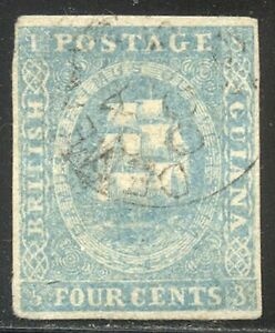 BRITISH GUIANA #10b Used - 1853 4c Pale Blue