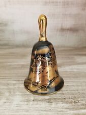 Vintage Rare Mint Shibata Japan Dinner Table Bell Black & Gold Village Scene
