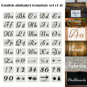 40pcs English Letter Stencils for Painting Mould Alphabet Signs Calligraphy Font