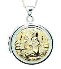 925 real sterling silver round gilt st christopher locket and chain gift boxed