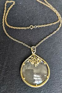 """Treasure Hunters's Magnifying Necklace 24"""" Floral Gold Tone Rope Chain"""