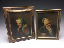 Pair Of Vincenzo Busciolano Italian Portraits Oil On Board Paintings