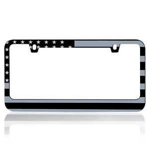 2X Metal Matte American USA Flag Style License Plate Frame Universal Fit