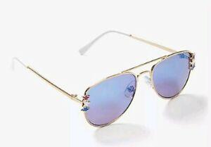 Justice Girls Sunglasses Metallic Gold Frames w Stars Red White Blue new