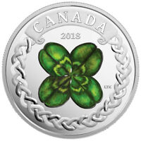 2018 Canada Lucky Clover 1 oz Silver Colorized $20 Coin GEM Proof OGP SKU52583