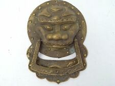 Antique Old Cast Brass Chinese Samurai Mask Dragon Front Door Knocker Hardware