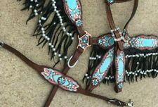 Western Horse Bling ! 4pc Turquoise Bridle Breast Collar Tack Set w/ Fringe