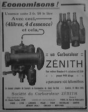 PUBLICITÉ 1920 ZÉNITH CARBURATEUR ESSENCE A 2,50 FRANCS DISTANCE PARCOURU 100 KM