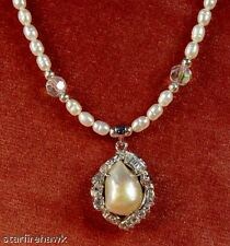Cultured Freshwater Rice Pearls, Crystal Beads Necklace