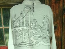 VTG Top Embroidered Blouse 90s Sky Lark Collections L/XL city bridge skyscrapers