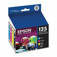 Epson Genuine 125 B, C, M, Y 4-Pack of Ink Cartridges