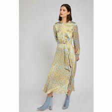 Ghost Mindy Cheetah Print Tie Front Satin Midi Dress Blue/ Gold Yellow Size XXS
