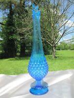 """Vintage Fenton Swung Glass 16"""" Pedestal Vase Blue Hobnail"""