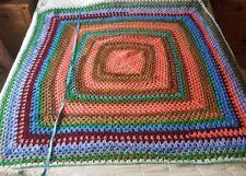 "Vintage 70's Style Orange blue Square Knit Crochet Wool Blanket Throw 52 x 53"""