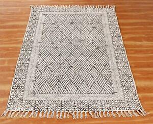 Cotton Handmade Block Printed Throw Area Rugs Dhurrie Handwoven Rug Runner 2x3