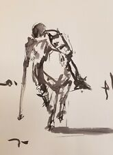 JOSE TRUJILLO - ORIGINAL POLO MODERN ART ABSTRACT EXPRESSIONISM INK WASH 18X24""