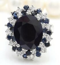 9.00 Carat Natural Sapphire and Diamonds in 14K Solid White Gold Women's Ring