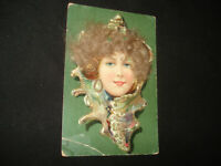 Vintage Antique early 1900s woman with doll hair photo postcard Germany