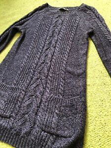 Fat Face Size 10 Blue Cable Knit Jumper Dress Front Pockets Good Cond