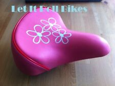 "NEW KIDS BICYCLE SADDLE SEAT PINK W/FLOWERS FOR 16"" OR 20"" BIKES!"