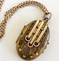 Antique Victorian Pendant Locket chain Necklace GF aesthetic period Etruscan