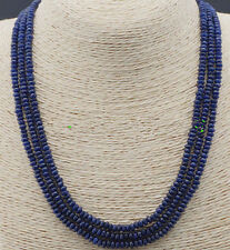 "Stunning 3-row 2x4mm natural deep blue sapphire abacus Beads necklace 17-19""AAA"