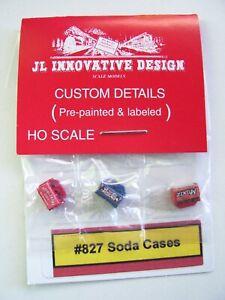 JL Innovative Design #827 HO Scale Set of 3 Mixed Brand Soda Cases, NIP