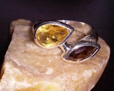 Citrine & Smoky Quartz REAL 925 Sterling Silver Bypass Ring -- 4.9 g