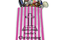 Personalised Christening sweet bags, candy striped sweet bags Christening Party