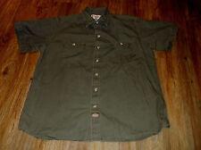 Men's DICKIES Short Sleeve Button Front Work Shirt Sz XL 100% Cotton Green
