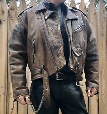 Men's Brown Distressed Classic Biker Jacket size 48
