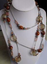 Superbe ancien grand collier sautoir bijou vintage couleur argent perles 667
