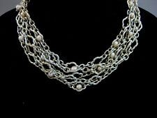 CHARLES KRYPELL 14K WHITE GOLD & STERLING SILVER 5 ROW PEARL NECKLACE 17.5""