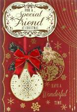 "Friend Christmas Card - Traditional Xmas Baubles & Gold Snowflakes 9.75"" x 6.75"""