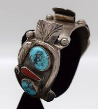 VINTAGE STORMY MR TURQUOISE AND CORAL WATCH BRACELET/1960-70'S FREE SHIPPING