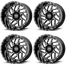 "Set 4 16"" Moto Metal MO985 Breakout Black Machined Wheels 16x8 5x5 -6mm Jeep"