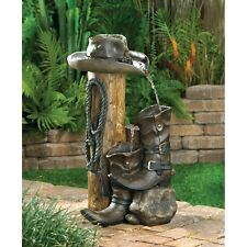 New Wild Western Country Cowboy Boots Hat Rope Rustic Outdoor Water Fountain