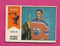 RARE 1974-75 OPC WHA # 64 OILERS JACQUES PLANTE GOALIE FAIR CARD (INV# D3882)