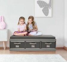 Toy Box Storage Bench Kids Bedroom Cushion Furniture Organizer Basket Bins Gray