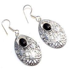 925 Sterling Silver Plated Black Onyx Gemstone Girls Womens Earrings Jewellery