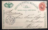 1893 Mexico City Mexico Stationery Postcard Cover To Wuerzburg Germany