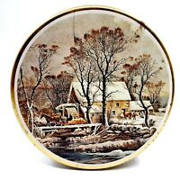 Vintage Winter Sleigh Ride Collectible Tin Round Storage Container